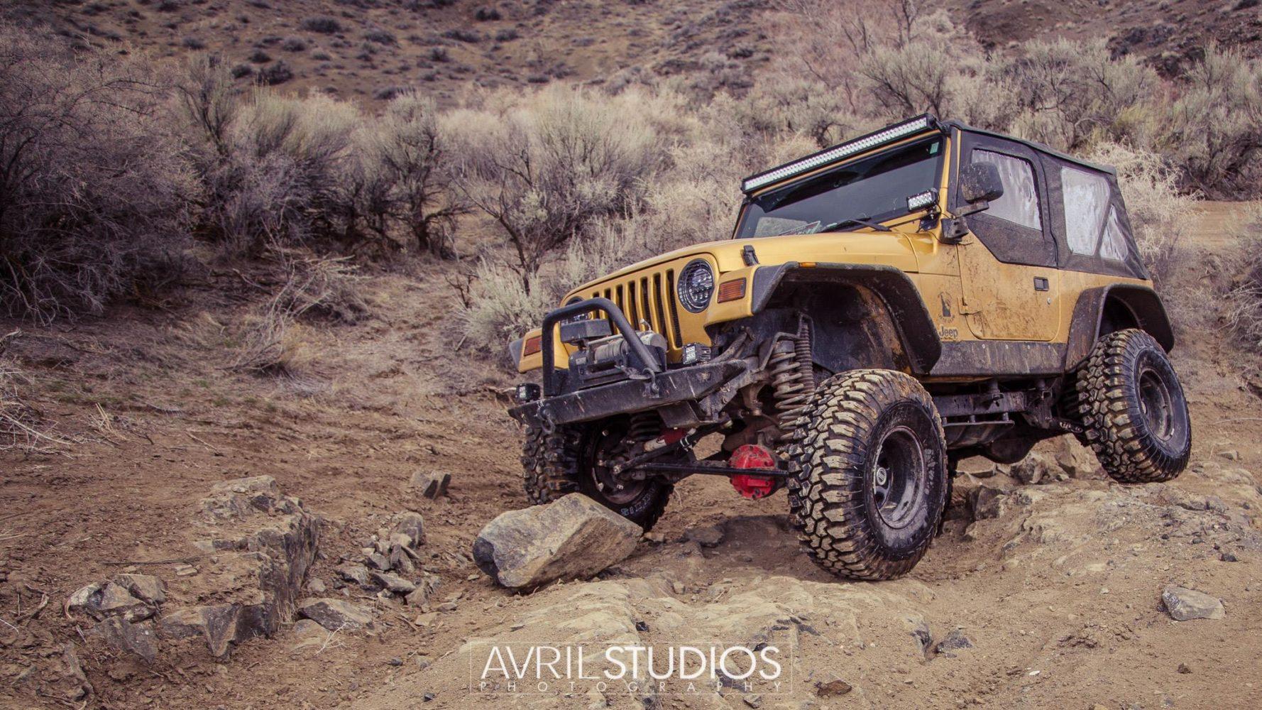 Jeep on a rock
